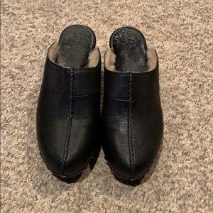 Ugg blackleather Cassi studded sheepskin clog shoe